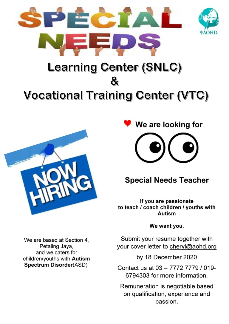 Ad for SNLC Special Needs teacher 1 Dec 2020 Medium
